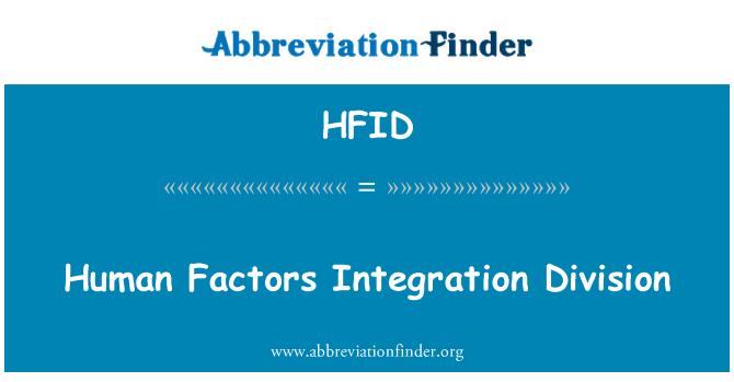 HFID: Human Factors Integration Division