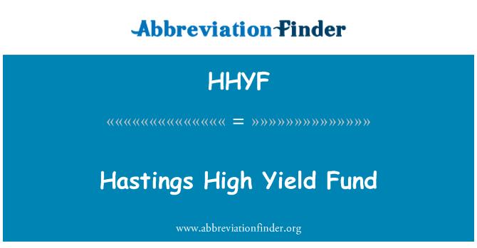 HHYF: Hastings High Yield Fund