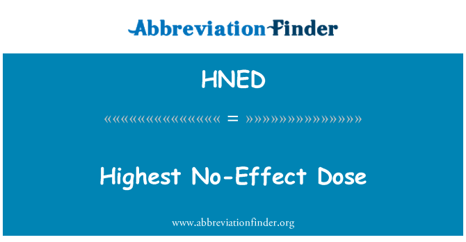 HNED: Najviša doza bez učinka