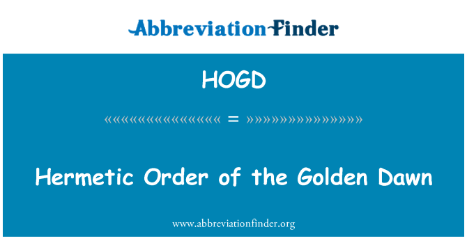 HOGD: Hermetic Order of the Golden Dawn