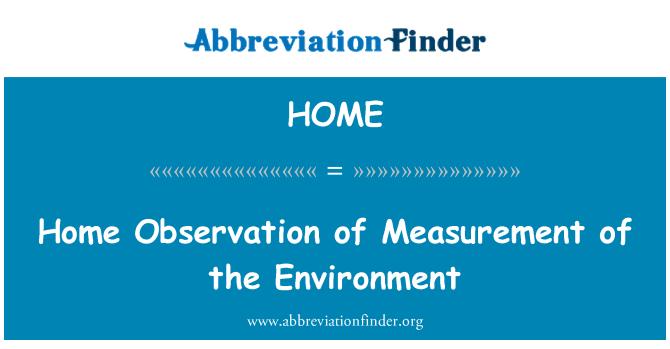HOME: Ev ölçüm çevrenin gözlenmesi