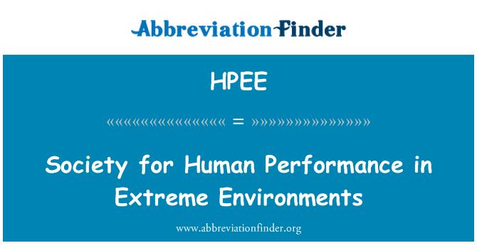 HPEE: Društvo za ljudska performanse u ekstremnim uvjetima