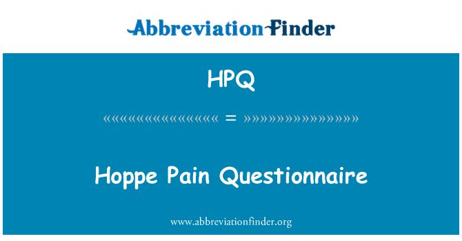HPQ: Hoppe Pain Questionnaire