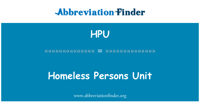 HPU: Homeless Persons Unit