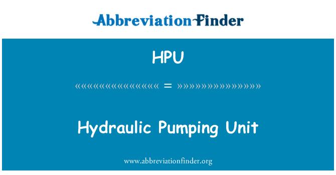 HPU: Unidad de bombeo hidráulica