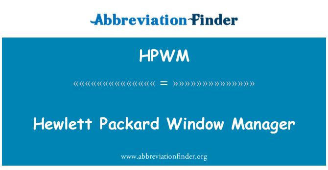 HPWM: Hewlett Packard Window Manager