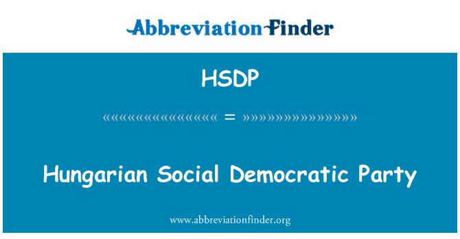 HSDP: Hungarian Social Democratic Party