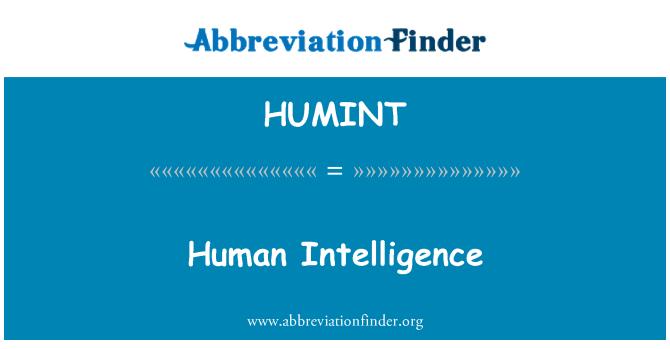 HUMINT: Žmogaus intelektas