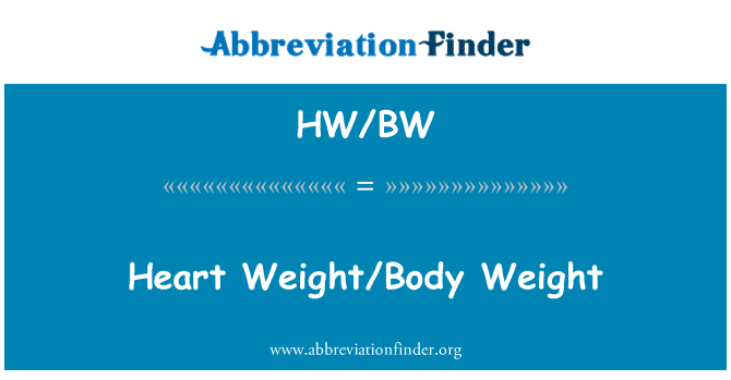 HW/BW: Heart Weight/Body Weight