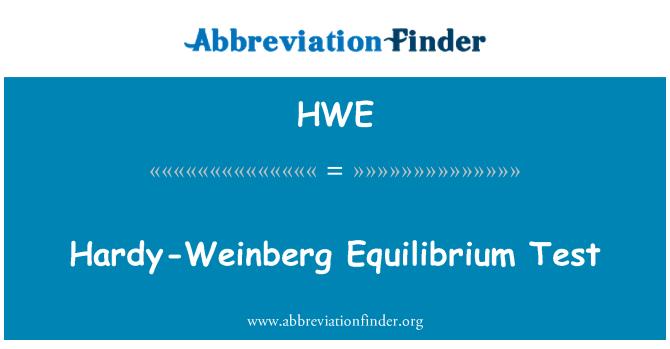 HWE: Hardy-Weinberg tasakaalu Test