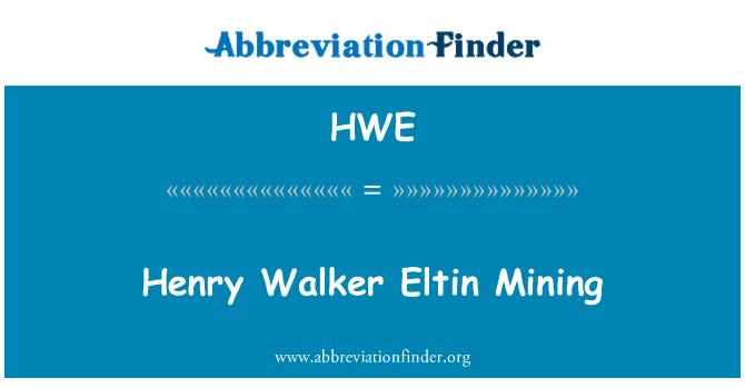 HWE: Henry Walker Eltin incelemesi