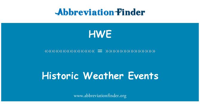 HWE: Ajalooline ilmastikunähtused