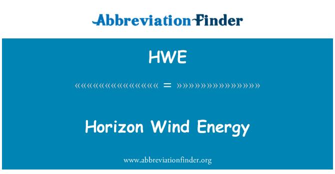 HWE: Ufuk Rüzgar enerjisi