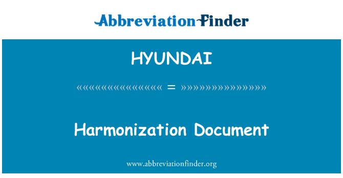 HYUNDAI: Documento de armonización