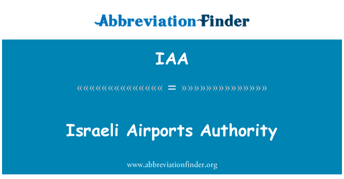 IAA: Israeli Airports Authority