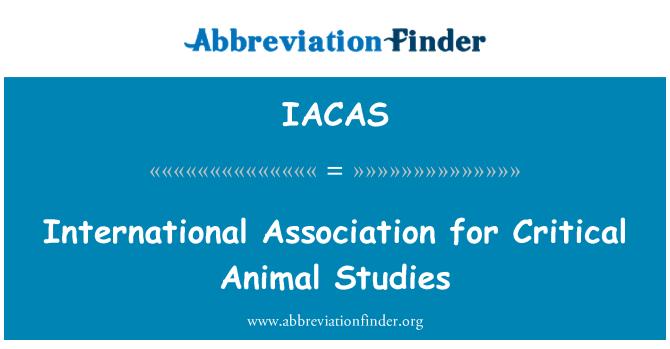 IACAS: Asociación Internacional para los estudios en animales críticos