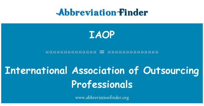 IAOP: International Association of Outsourcing Professionals