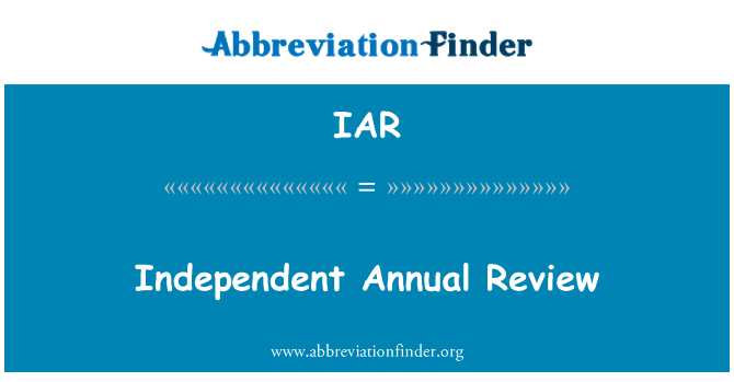 IAR: Independent Annual Review