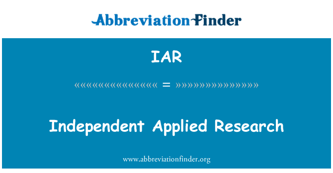IAR: Independent Applied Research