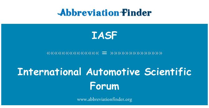 IASF: International Automotive Scientific Forum