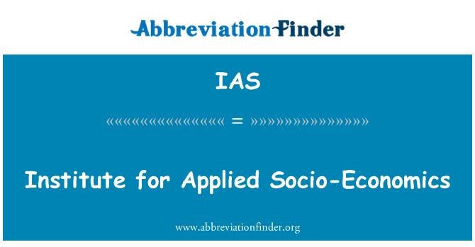 IAS: Institute for Applied Socio-Economics