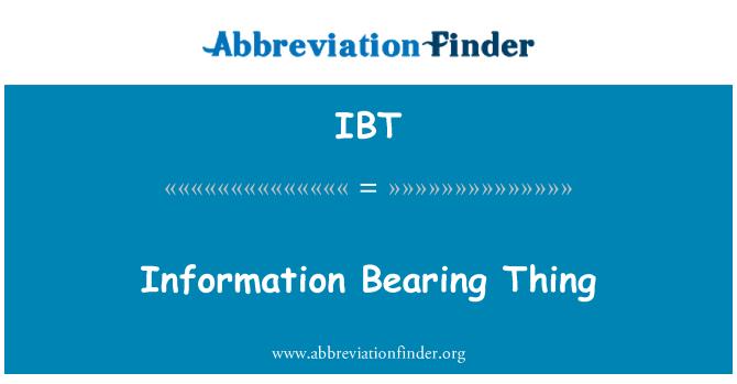 IBT: 資訊軸承件事