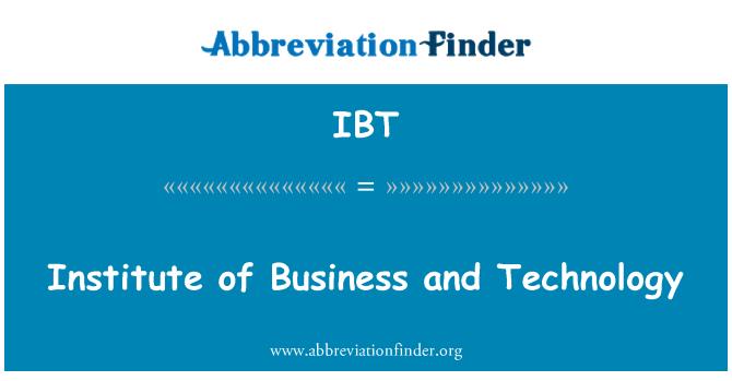 IBT: 研究所的業務和技術