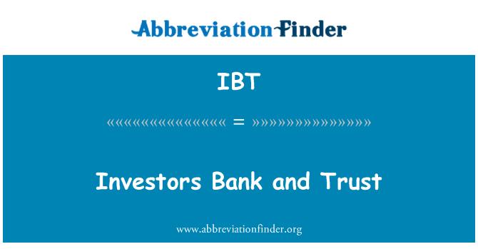 IBT: 投資者銀行和信託
