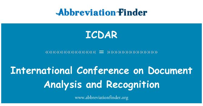 ICDAR: Belge analiz ve tanıma Konferansı