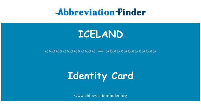 ICELAND: Identity Card