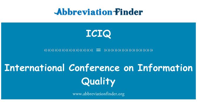 ICIQ: International Conference on Information Quality