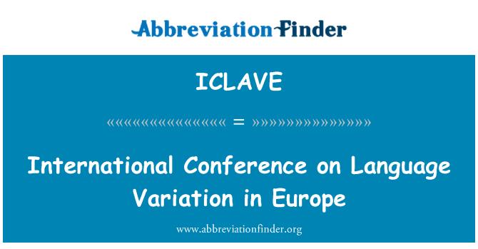 ICLAVE: Mezinárodní konference o jazykových variant v Evropě