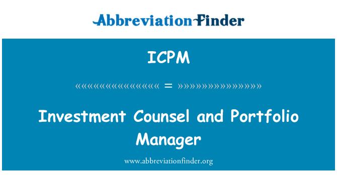 ICPM: Asesor de inversión y gestor de la cartera