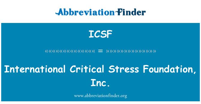 ICSF: Tensión crítica internacional Foundation, Inc.