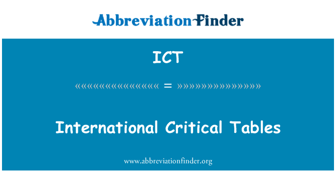 ICT: International Critical Tables