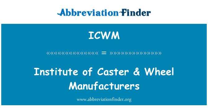 ICWM: Caster Enstitüsü & tekerlek üreticileri