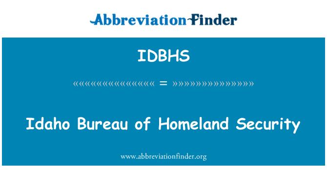 IDBHS: Idaho Bureau of Homeland Security