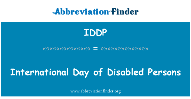 IDDP: International Day of Disabled Persons