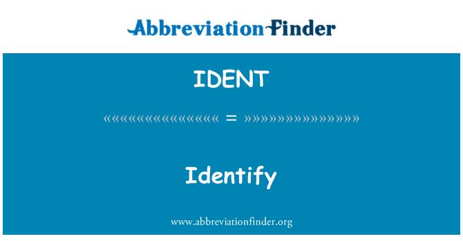 IDENT: کی شناخت