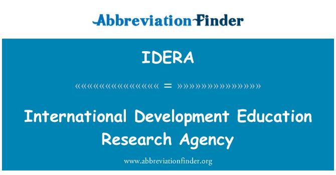 IDERA: International Development Education Research Agency