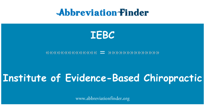 IEBC: Institute of Evidence-Based Chiropractic