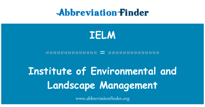 IELM: Institute of Environmental and Landscape Management