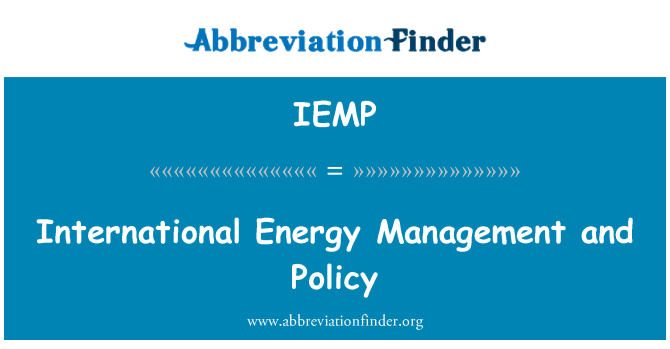 IEMP: International Energy Management and Policy
