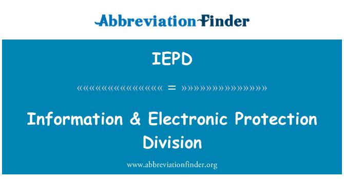 IEPD: Bilgi & elektronik koruma bölümü