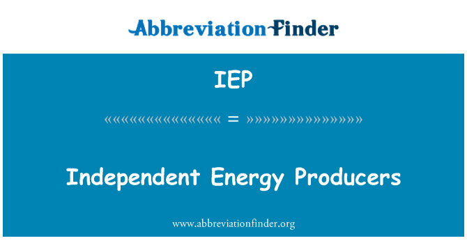 IEP: Productores de energía independientes