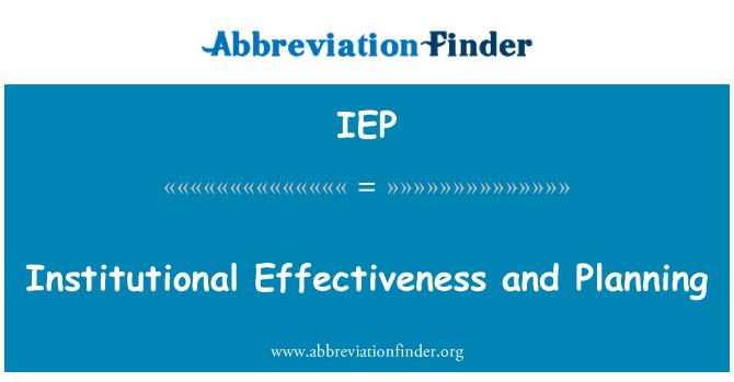 IEP: Efectividad institucional y planificación