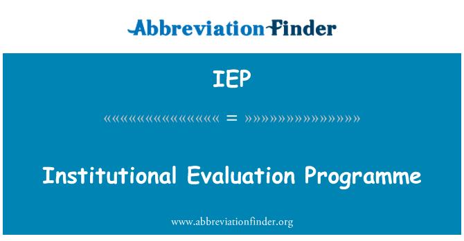 IEP: Programa de evaluación institucional