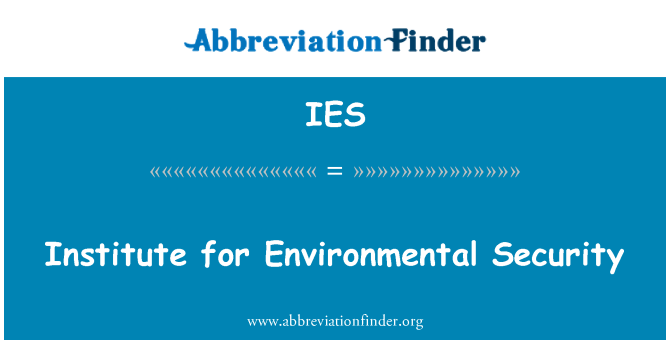 IES: Institute for Environmental Security