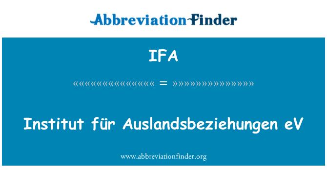 IFA: Institut für Auslandsbeziehungen eV