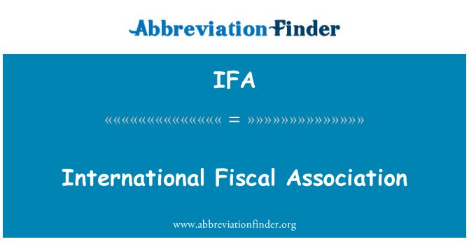 IFA: International Fiscal Association
